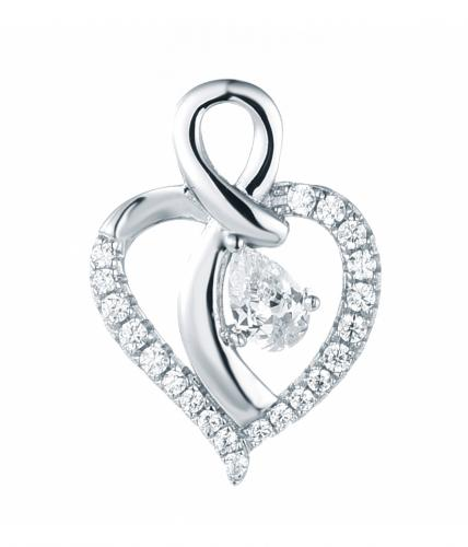 Rhodium CZ Heart 925 Silver Jewelry Necklace FP49103A