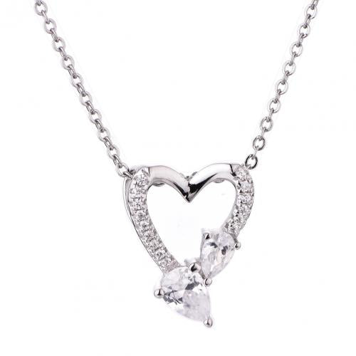Rhodium CZ Heart 925 Sterling Silver Necklace FP49403A