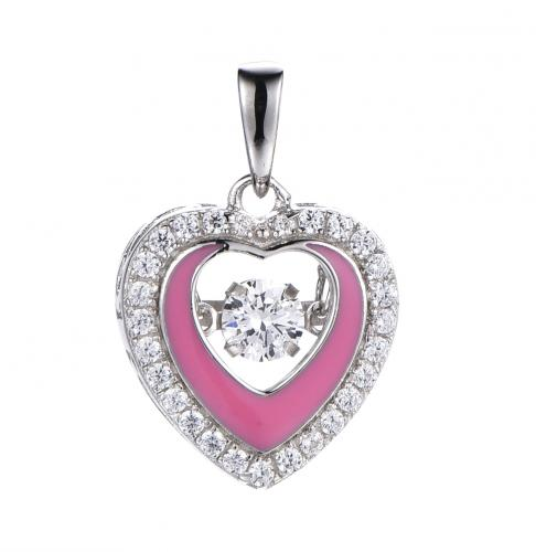 Rhodium Enamel Heart Dancing 925 Sterling Silver Necklace FP50105A