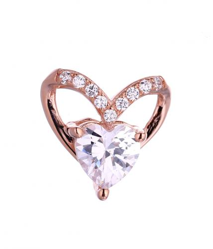 Rose Gold CZ Heart 925 Sterling Silver FP50608B