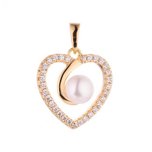 Yellow Gold Pearl Heart 925 Sterling Silver FP50902F