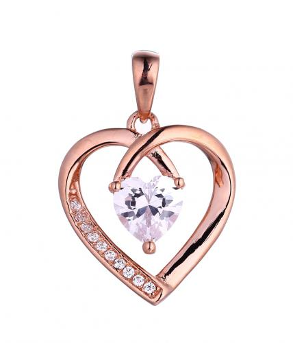Rose Gold CZ Heart 925 Sterling Silver FP51209C