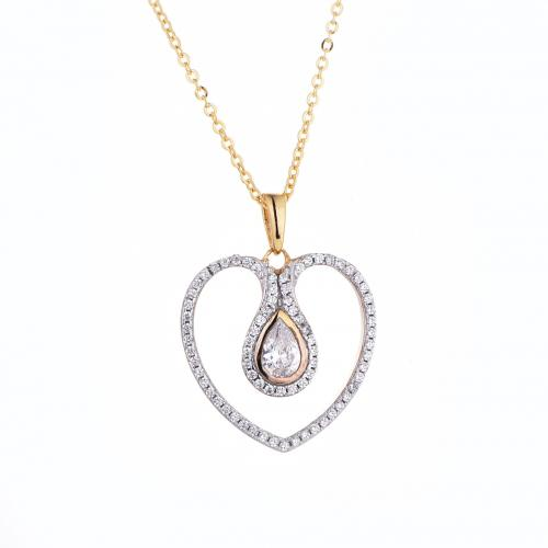 Yellow Gold CZ Heart 925 Sterling Silver FP51405D