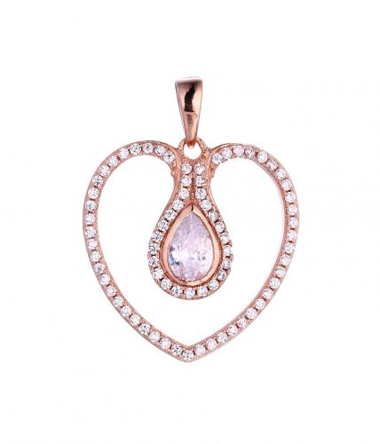 Rose Gold CZ Heart 925 Sterling Silver FP51405E