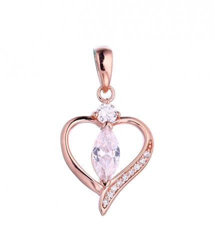 Rose Gold CZ Heart 925 Sterling Silver FP51500B