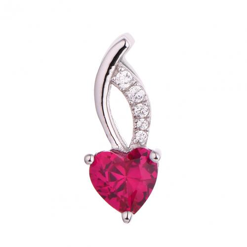 Rhodium Ruby Heart 925 Sterling Silver FP51808A