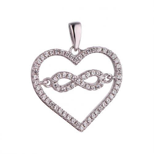 Rhodium CZ Heart 925 Sterling Silver Necklace FP52703A