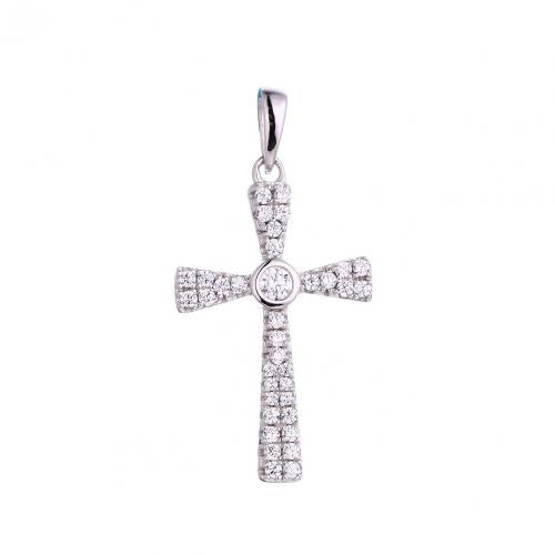 Rhodium CZ Cross 925 Sterling Silver Necklace FP53307A