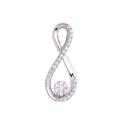 Rhodium CZ Infinity 925 Sterling Silver Necklace FP53309A