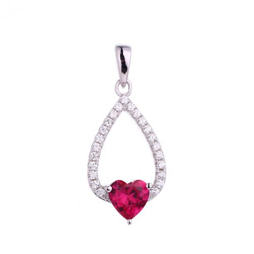 Rhodium Ruby Teardrop Fashion 925 Sterling Silver FP53400A