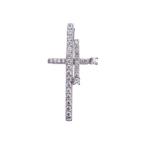 Rhodium CZ Cross 925 Sterling Silver Necklace FP53403A