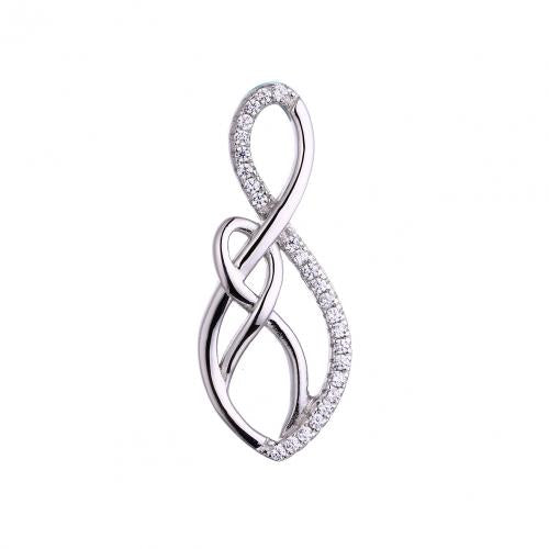 Rhodium CZ Infinity 925 Sterling Silver Necklace FP53505A