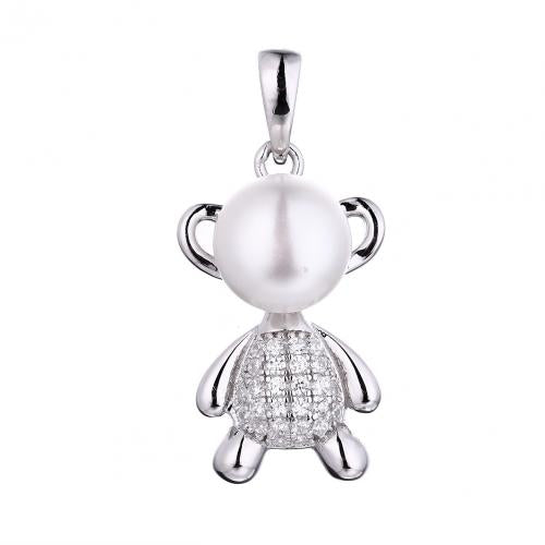 Rhodium Pearl Animal 925 Sterling Silver Necklace FP53803A