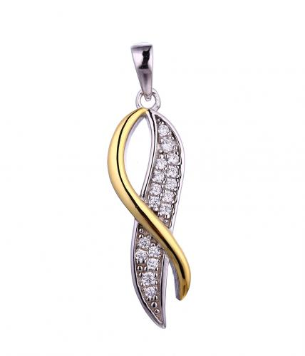 Yellow Gold CZ Infinity 925 Sterling Silver Necklace FP53909A