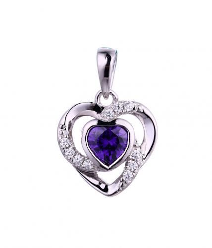 Rhodium Gemstone Heart 925 Sterling Silver FP54401C