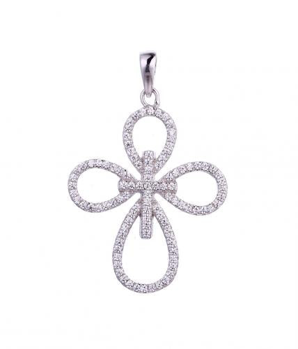 Rhodium CZ Cross 925 Sterling Silver Necklace FP54505A