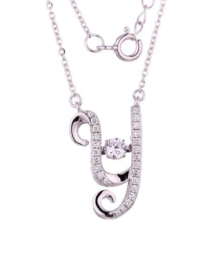 Rhodium CZ Layered Letter Dancing Fashion 925 Sterling Silver Necklace FP55200A