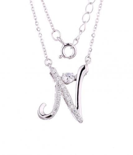 Rhodium CZ Layered Letter Dancing Fashion 925 Sterling Silver Necklace FP55204A