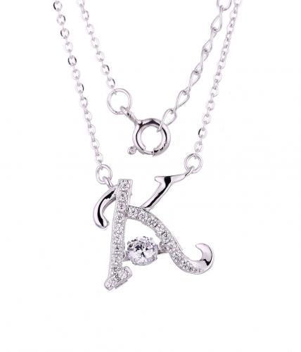 Rhodium CZ Layered Letter Dancing Fashion 925 Sterling Silver Necklace FP55205A