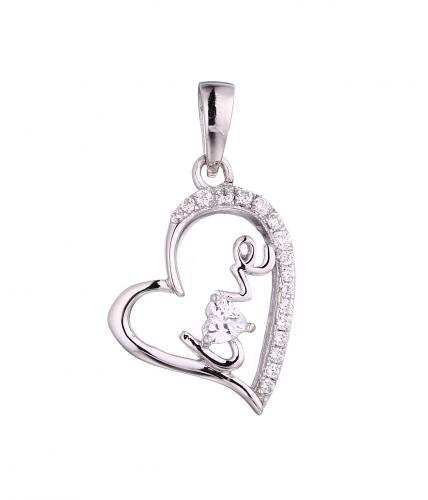 Rhodium CZ Heart 925 Sterling Silver FP55303A
