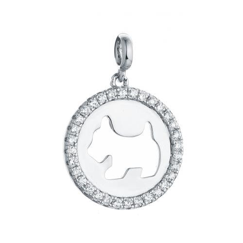 Rhodium CZ Circle Fashion 925 Sterling Silver Necklace FP003A2A