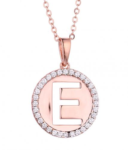 Rose Gold CZ Initial Coin Fashion 925 Silver Jewelry Necklace FP005A0C