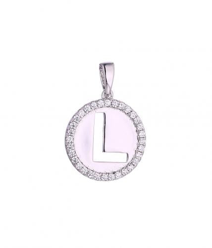 Rhodium CZ Initial Coin Fashion 925 Silver Jewelry Necklace FP005A1A