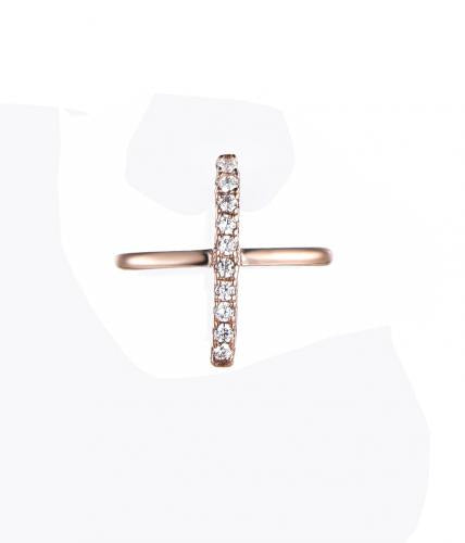 Rose Gold CZ Cross 925 Sterling Silver Necklace FP006B2C