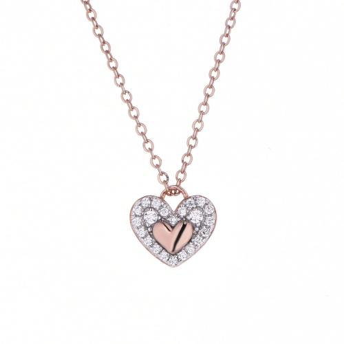 Rose Gold CZ Heart 925 Sterling Silver FP024B4A