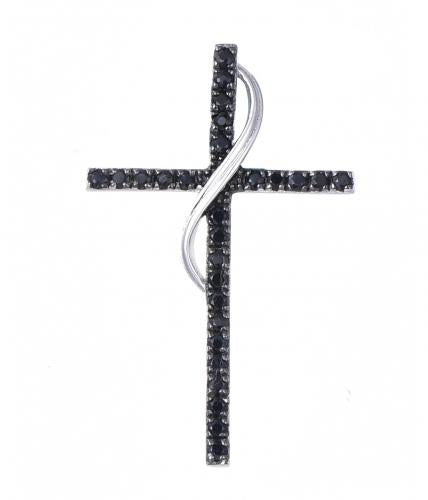 Black Gold Sapphire Cross 925 Sterling Silver Necklace FP010D0A