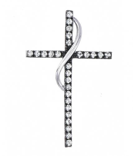Rhodium Emerald Cross 925 Sterling Silver Necklace FP010D0D