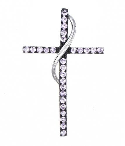 Rhodium Gemstone Cross 925 Sterling Silver Necklace FP010D0E
