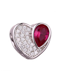Rhodium Ruby Heart 925 Sterling Silver Necklace FP010F4E