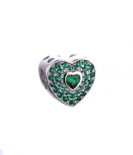 Rhodium Emerald Heart 925 Sterling Silver Necklace FP010F5C