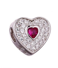 Rhodium Ruby Heart 925 Sterling Silver Necklace FP010F5E