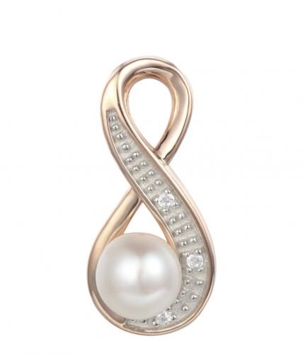 Rose Gold Pearl Infinity 925 Sterling Silver Necklace FP001W1A