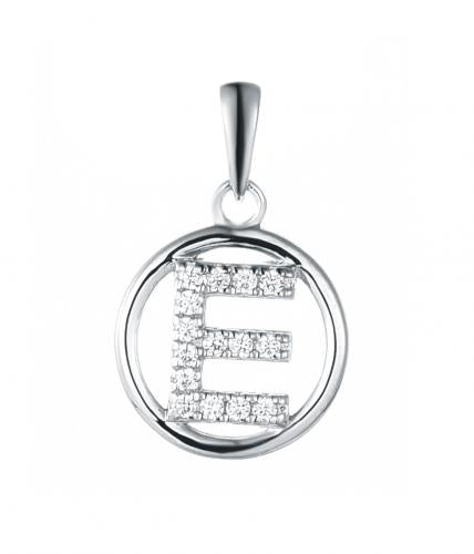 Rhodium CZ Initial Coin Fashion 925 Sterling Silver Necklace FP003W1A