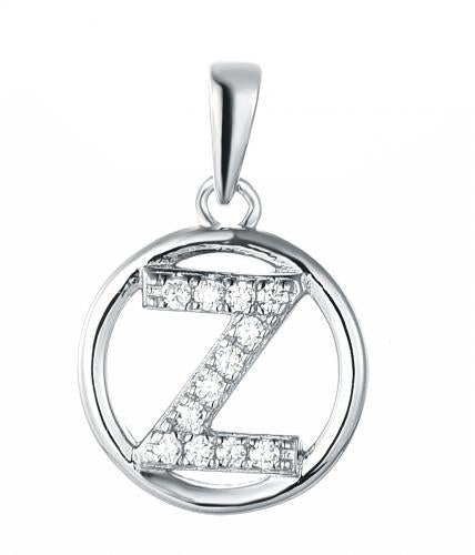 Rhodium CZ Initial Coin Fashion 925 Silver Jewelry Necklace FP004W9A