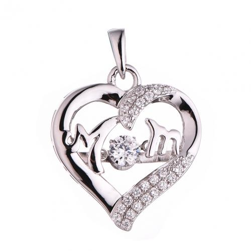 Rhodium CZ Heart Dancing 925 Silver Jewelry Necklace FP489Z1A