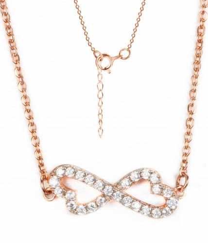 Rose Gold CZ Layered Infinity 925 Sterling Silver Necklace HN09106D