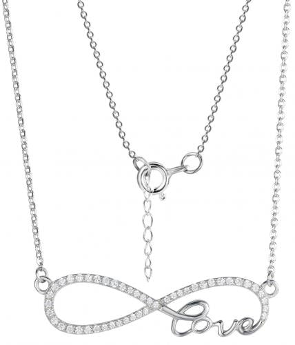 Rhodium CZ Layered Infinity 925 Sterling Silver Necklace HN09308B