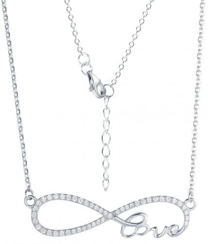Rhodium CZ Layered Infinity 925 Sterling Silver Necklace HN09308J