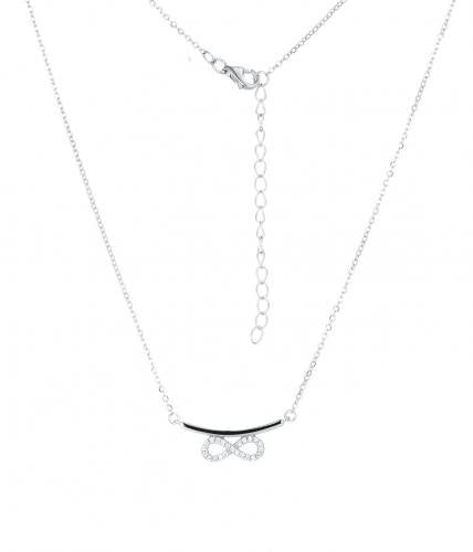 Rhodium CZ Layered Infinity 925 Sterling Silver Necklace HN10100B