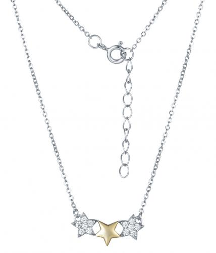 Yellow Gold CZ Layered Star Fashion 925 Silver Jewelry Necklace HN10103A