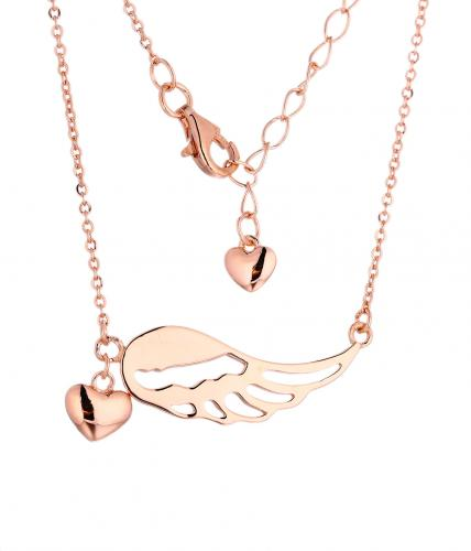 Rose Gold Layered Angel Fashion 925 Silver Jewelry Necklace HN11202B