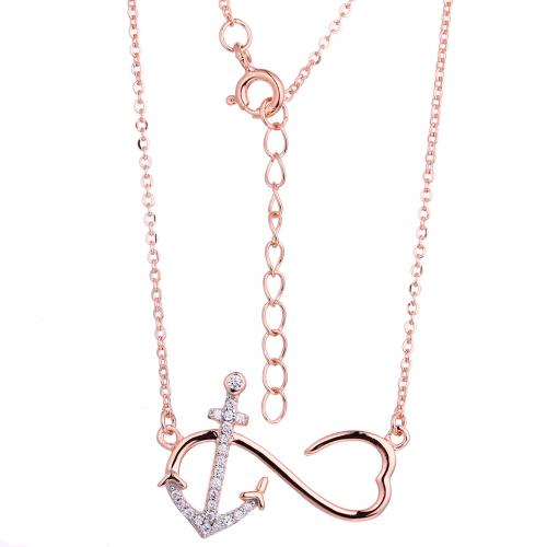 Rose Gold CZ Layered Anchor Fashion 925 Silver Jewelry Necklace HN11403A
