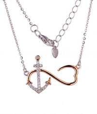 Yellow Gold CZ Layered Anchor Fashion 925 Silver Jewelry Necklace HN11403B