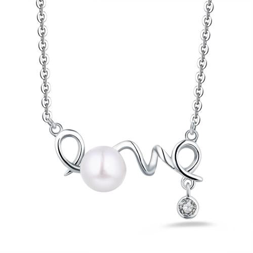 Rhodium Pearl Letter Fashion 925 Sterling Silver Necklace HN11404A