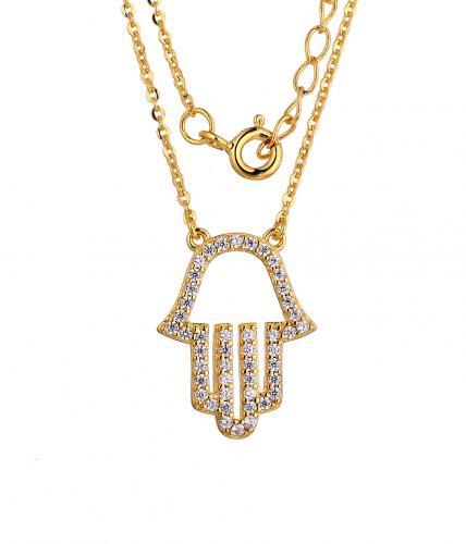 Yellow Gold CZ Layered Hamsa Fashion 925 Silver Jewelry Necklace HN11500D