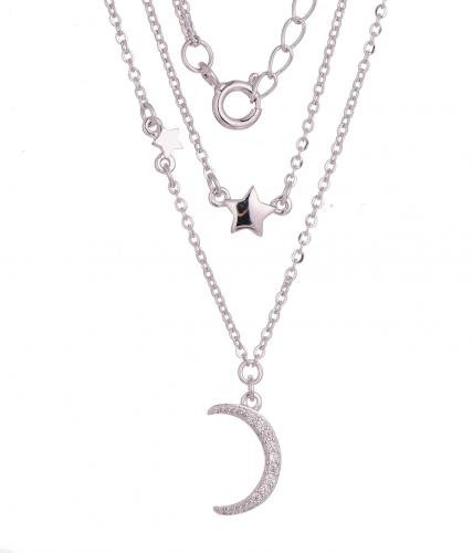 Rhodium CZ Layered Moon Fashion 925 Silver Jewelry Necklace HN11908A